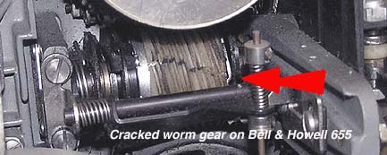Bell & Howell Cracked Worm Gear on Model 655